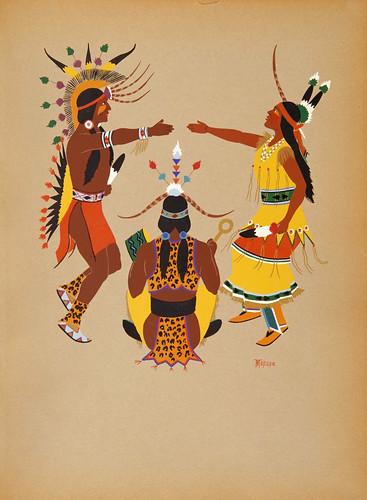026-Arte indio Kiowa- ceremonia de boda-acuarela 1929