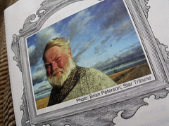 Poet Bill Holm, 1943-2009, from the program for his Memorial Service in Minneota, Minnesota, original photograph by Brian Peterson, April 2009, photo © 2009 by QuoinMonkey. All rights reserved.