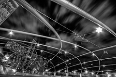 the webs we weave (chasingcars36) Tags: bw white chicago black illinois downtown nightsky millenniumpark