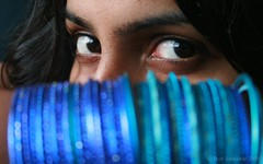 Meenakshi (Stuti ~) Tags: blue portrait woman india girl female hair eyes bokeh jewellery mumbai bangles colourartaward