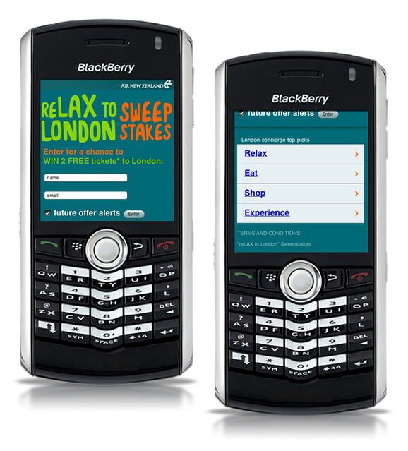reLAX to London Campaign BlackBerry Optimized Site and Sweepstakes Entry by tenfour archive