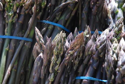 purple asparagus at the market