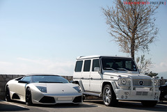 Lambo LP640 roadster & Class G Brabus K8 (Julien Rubicondo Photography - julienrubicondo.com) Tags: orange black silver grey gris mercedes benz cannes wheels class k8 rims limited edition lamborghini mb rare g55 sv roadster brabus croisette lp640 lp6504 lamborghinilp640sv