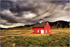 The Little Red Schoolhouse (Extra Medium) Tags: school church clouds barn rural scenery colorado redhouse schoolhouse hdr 9exposures nikkor1835 2010calendar d700