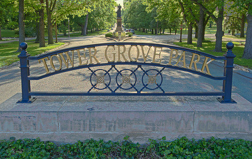 Tower Grove Park, in Saint Louis, Missouri, USA - sign at eastern gate