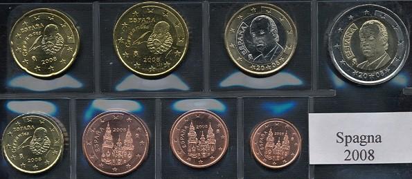 Sada mincí 1 cent - 2 euro Španielsko 2008