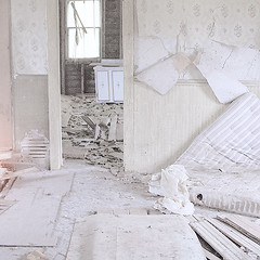 (craig schlewitz) Tags: wood old light wallpaper sun white house abandoned broken window wall peeling cabinet furniture room sheets falling doorway vacant mattress apart