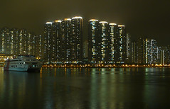 Hong Kong - Tsing Yi Island (cnmark) Tags: china light reflection tower ferry architecture night landscape geotagged island hongkong noche boat long exposure ship nacht district towers hong kong catamaran noite  rambler  residential nuit notte channel highspeed yi nachtaufnahme tsing shenlong allrightsreserved  superaplus aplusphoto  platinumheartaward macaodragon oltusfotos geo:lat=22366507 geo:lon=114111018