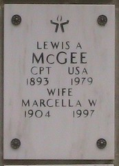 The Arlington National Cemetary marker of the cremains of Rev. Lewis McGee, Unitarian miniater and veteran.
