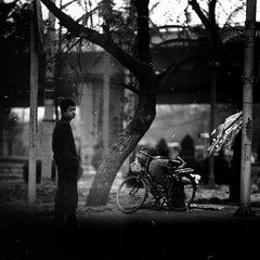 ashes (memetic) Tags: underexposed boy street lane hutong bicycle man seated trees blackwhite bw   beijing china pentaconsix p6 kodak tmax 100