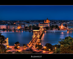 Budapest at Night (szeke) Tags: bridge river landscape puente hungary nightlights budapest panoramic danube hdr hungria bluelight magyarorszg lnchd chainbridge danubio szchenyi photomatix imagenomic anawesomeshot overtheexcellence qualitypixels saariysqualitypictures