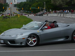"Ottawa Ferrari Fest 2009 ""Demonstration Zone"": A Ferrari 360 Spider. (Steve Brandon) Tags: auto show city people ontario canada motion car speed geotagged spider moving automobile display corsoitalia ottawa 360 ferrari voiture spyder motionblur pedestrians modena littleitaly  ville hairpin sportscar fca barchetta redcar f360 exoticcar   italiancar   prestonstreet  ferrari360spider redcarnation   ferrari360modena  ferrari360spyder  ferrari360modenaspider carlingavenue   ferrariclubofamerica ferrari360modenaspyder champagneavenue demonstrationzone 360 360 360"