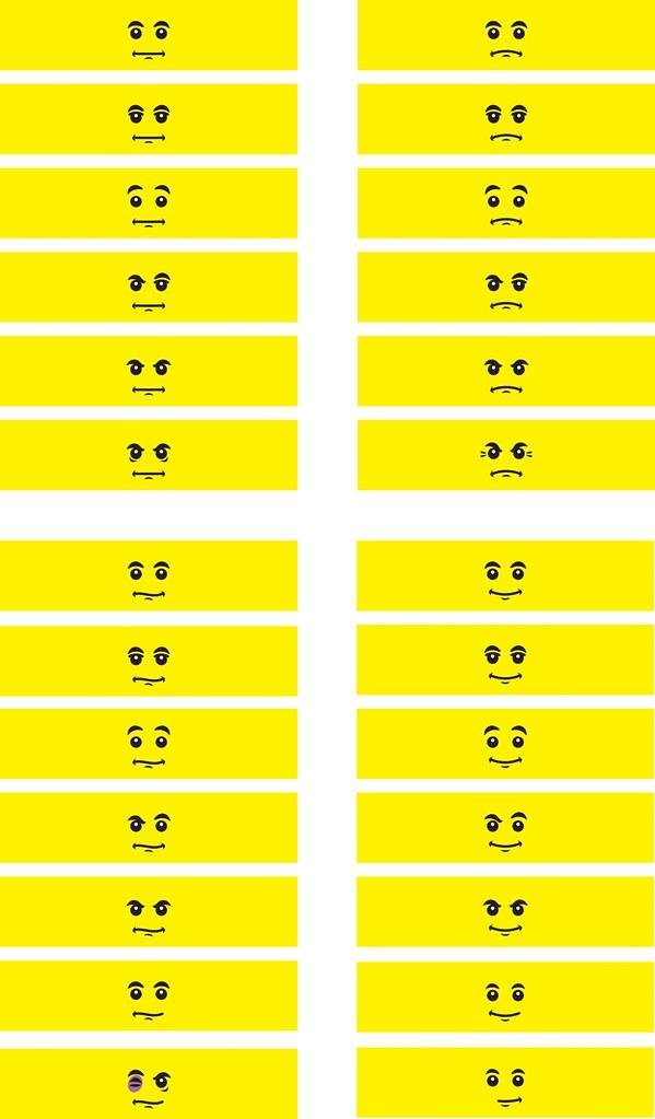 MiniFigure Head decals (130 facial expressions) - Minifig