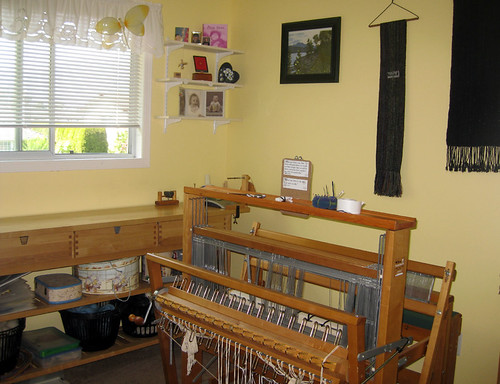 floor loom and Ikea table