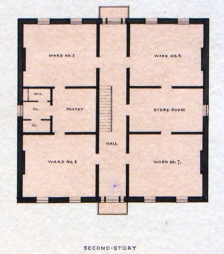 Governor's Island, NY Old Post Hospital Second Floor Plan 1871