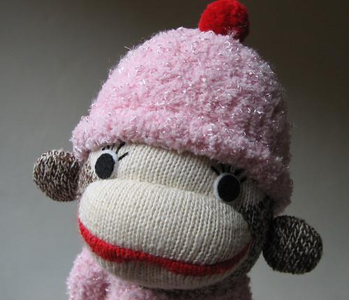 1/2 vintage sock monkey 1/2 fuzzy pink sock