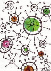 Orbitals - An ACEO (Jennifer Mullin Johansson) Tags: orange abstract green art atc collage pen ink magazine stars mixedmedia circles violet mandala aceo triad
