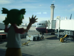 Yotsuba & the Airport (Sasha's Lab) Tags: travel sky macro tower window plane airplane toy flying airport dof control flight manga terminal forcedperspective koiwai airtravel yotsubato yotsuba  enjoytravel