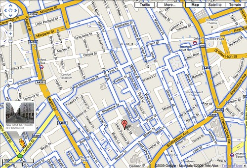 Google Street View coverage of Soho