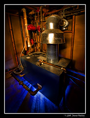 Boiler Room - Early Experiments in Light Painting (James Neeley) Tags: lightpainting utility furnace boilerroom jamesneeley