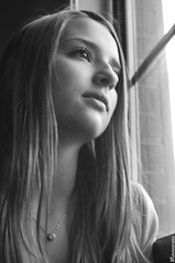 Pondering by the Window (kaymodel) Tags: bw love window girl beautiful beauty marie hair eyes day chica looking amor gorgeous dream kay bonita passion inside lovely capture kayla dreamer gaze guapa focused