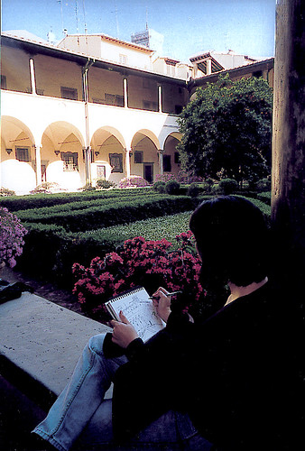 Pam sketches the monastery