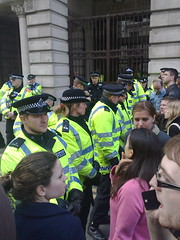 photo of the police line at the protests in london