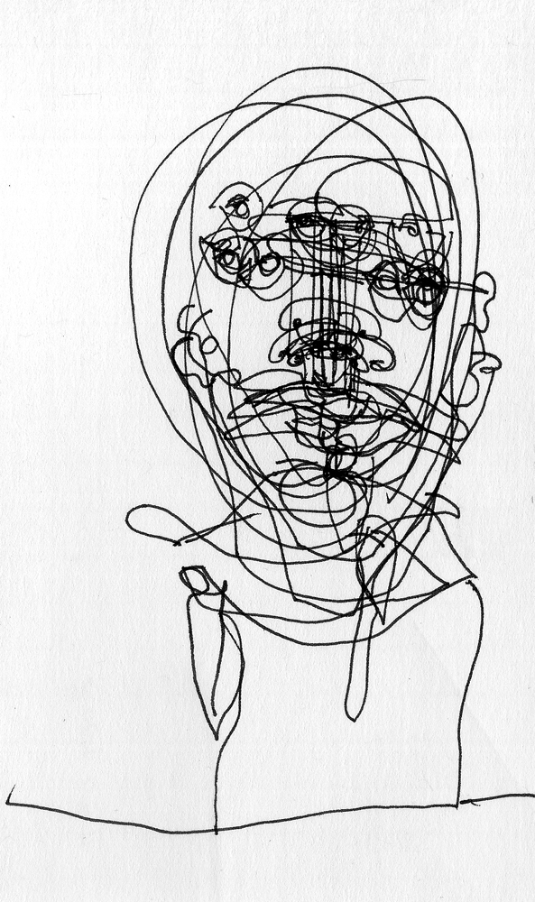5 heads e, blind gesture drawing on 3 x 5 index card, 2009 by Sarah Atlee