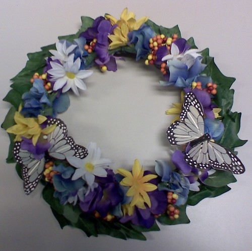 Flowers and Butterflies Door Wreath