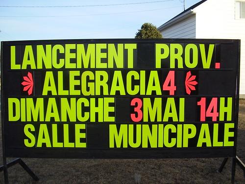 Panneau du lancement d'Alégracia et le Dernier Assaut