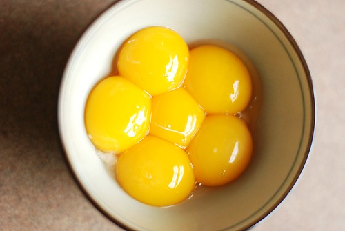 Egg yolks that are busily not going to waste.