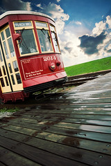 2014 (b*wag) Tags: wood red sky clouds photoshop french boards neworleans tracks frenchquarter mkt trolly 2014