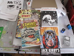 Some stuff on my desk I'm looking at. (MRKIJI) Tags: owl pens sketches jackkirby draftingtable sharpeners erasers kamandi djpremiere yoshihirotatsumi kingofcomics fourthworldomnibus crooklyncuts