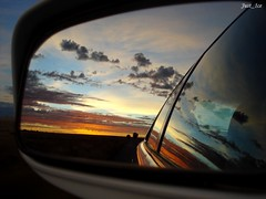 "Side Mirror Sunrise - My most ""interesting"" pic (Just_Ice.) Tags: blue orange sun white reflection car clouds sunrise landscape dawn mirror sony cybershot sideview w55 thechallengegame challengegamewinner koffiefontein"