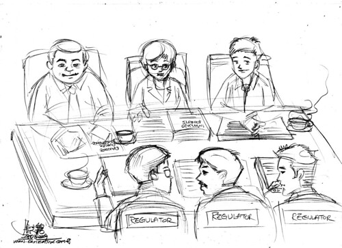 Cartoon illustration - - meeting with Regulators pencil sketch)