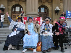 Edmontons Raging Grannies (Grant Neufeld) Tags: rally protest alberta activism healthcare legislature activist raginggrannies albertalegislature friendsofmedicare