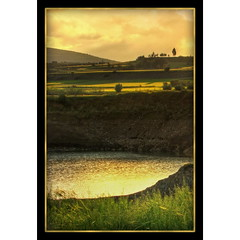 Golden Afternoon (Mike G. K.) Tags: trees light mountains reflection nature water grass yellow clouds landscape gold golden afternoon view dam border cyprus frame fields hdr blueribbonwinner photomatix 3exp klirou   arediou clerou mikegk:gettyimages=submitted