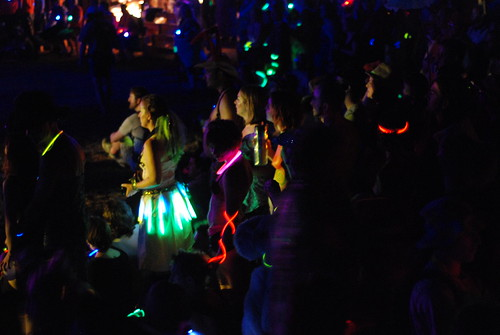 crowd in glowsticks