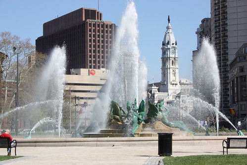 Swann Memorial Fountain at Logan Circle with City Hall in the background