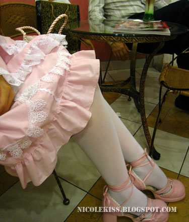 white stockings pink lolita shoes