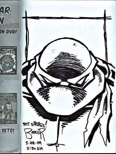 TMNT: TEENAGE MUTANT NINJA TURTLES Volume 4 # 30 // ..tOkKa's back cover TMNT head sketch by Dan Berger (( MAY 2009 ))