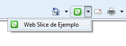 Menú de agregar Web Slice