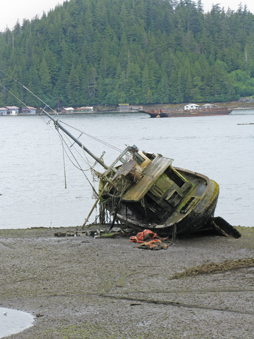 sunken boat revealed at low tide, Ketchikan, Alaska