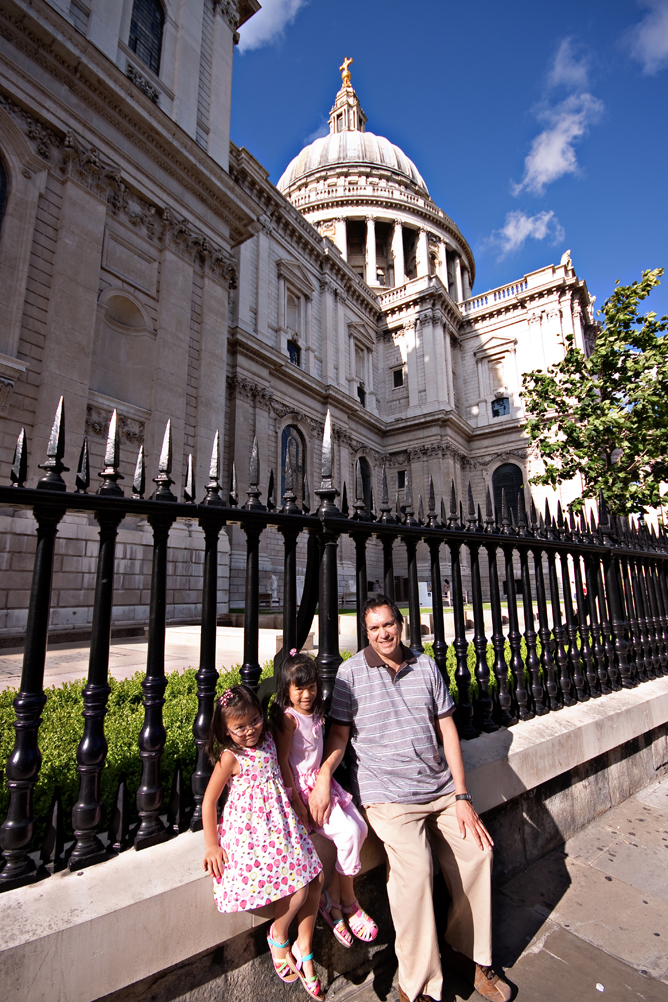 Chloe Pearl and Dad at St. Paul Cathedral