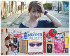 Aliya Diptych (J Trav) Tags: atlanta portrait sunglasses bag persona interesting nikon diptych phone wallet halls toothpaste chopsticks whatsinyourbag toothbrush matches aliya thermos notepad floss nailfile contactsolution chapstick aleve hairclip pocketknife sodoku d40 elvissticker theitemsicarry contaxts