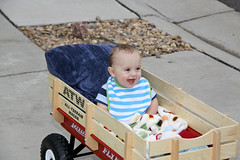 Enjoying a wagon ride