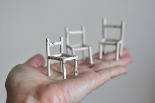 little chairs of rolled book pages