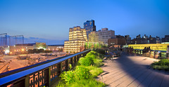 High Line Panorama 2 (enfi) Tags: park nyc railroad sunset usa ny newyork architecture frank design high chelsea dusk recycled path manhattan tracks gehry line diller meatpackingdistrict highline nigh renfro iac redevelopment jeannouvel scofidio dillerscofidio dillerscofidiorenfro manhattannewyorkusa interactivecorp