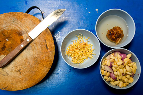 Ingredients for kaeng hang lay, a northern-Thai style pork curry, Mae Hong Son