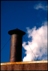 smoke stack blue sky 1 (T. Scott Carlisle) Tags: sky cloud vent stack kodachrome tallahassee tsc famu tphotographic tphotographiccom tscarlisle tscottcarlisle
